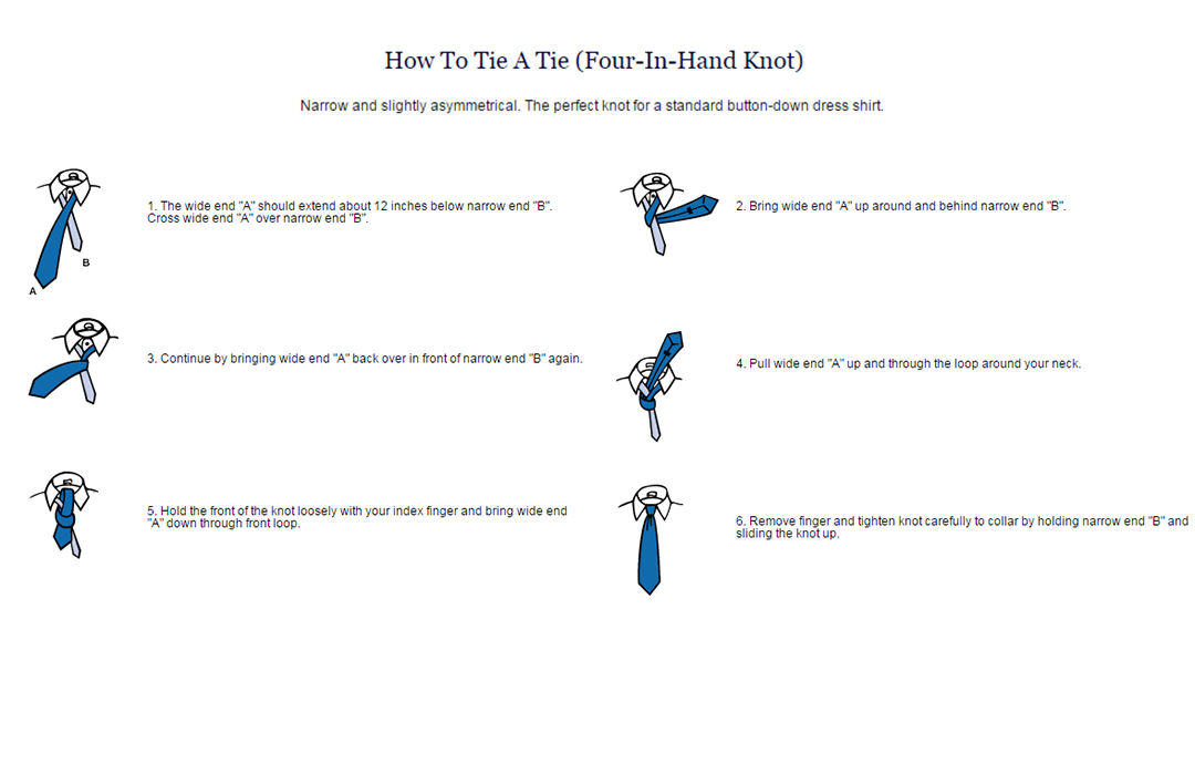 how to tie a tie (four-in-hand knot)