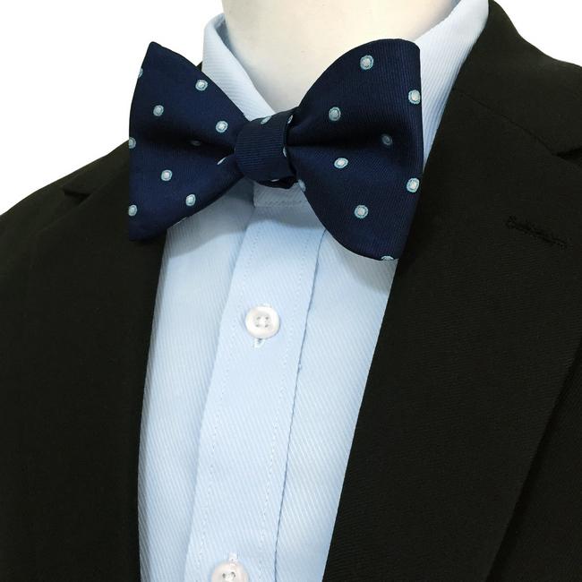 Ajustable Self E24 Fashion Tie Wedding Pocket Polka Square Navy Set Dots Mens Bow Bowtie Silk dxeBoC